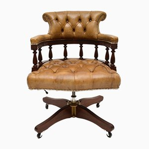 Vintage Leather and Mahogany Swivel Desk Chair