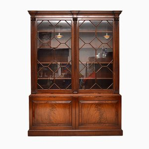 Librería vintage de caoba esmaltada y puertas con vidriera