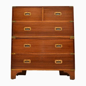 Vintage Military Campaign Mahogany Chest of Drawers