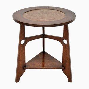 Table d'Appoint Arts and Crafts Antique en Chêne et Cuivre