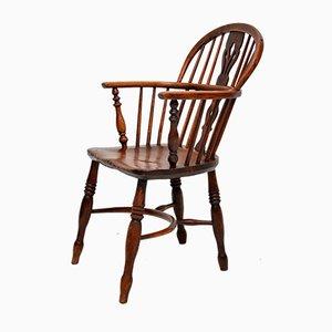 Antique Solid Elm Windsor Armchair