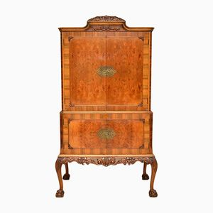 Vintage Queen Anne Style Burr Walnut Cocktail Cabinet