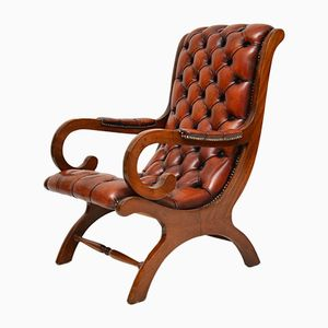 Vintage Regency Style Leather and Mahogany Armchair