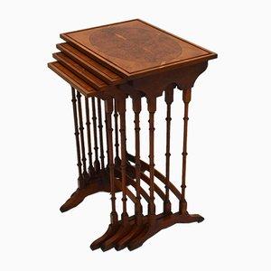 Mesas nido estilo Regency vintage de tejo