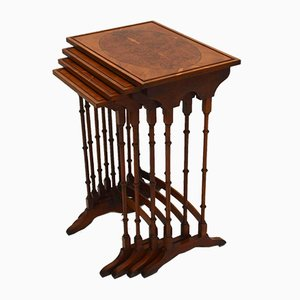 Vintage Regency Style Yew Nest of 4 Tables