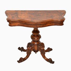 Table à Cartes Victorienne Antique en Loupe de Noyer