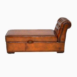 Chaise Lounge victoriano antiguo de cuero