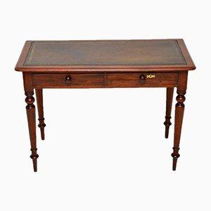 Mesa de escritura victoriana antigua de caoba con superficie de cuero