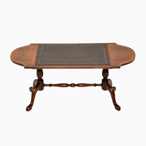 Vintage Walnut Leather Topped Coffee Table
