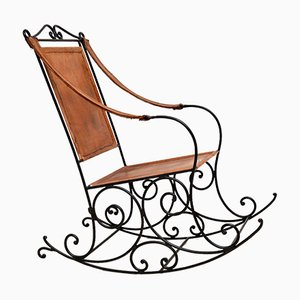 Rocking Chair Vintage en Fer Forgé et Cuir