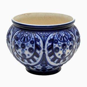 Macetero victoriano antiguo de cerámica