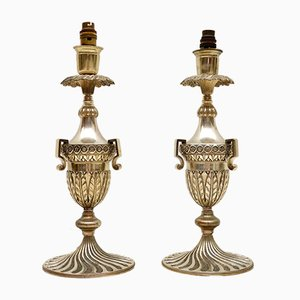 Art Deco Silver Plated Table Lamps, Set of 2