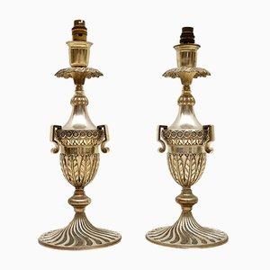 Lampade da tavolo Art Déco vintage placcate in argento, set di 2