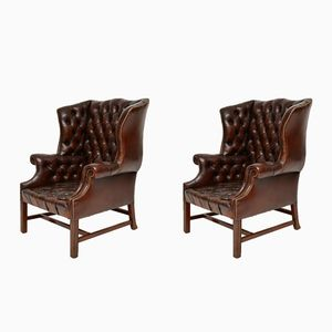 Antique Deep Buttoned Leather Wing Back Armchairs, Set of 2