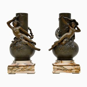 Antique French Bronze Vases by L. Moreau, Set of 2