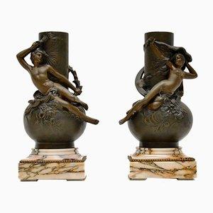 Antique French Bronze Vases by L. Moreau, Set of 2