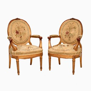 Antique French Gilt Wood Salon Armchairs, Set of 2