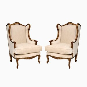 Antique French Gilt Wood Wing Back Armchairs, Set of 2
