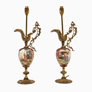Vintage French Porcelain Lamps, Set of 2