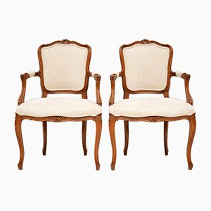 Antique French Walnut Salon Armchairs, Set of 2