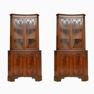 Vintage Georgian Style Mahogany Corner Cabinets, Set of 2
