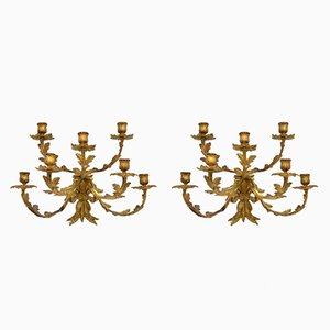 Antique Gilt Bronze Wall Sconce Candelabras, Set of 2