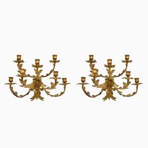 Ein paar antike Kerzenständer-Wandleuchten aus vergoldeter Bronze