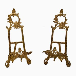 Mid-Century Gilt Metal Picture Holders, Set of 2