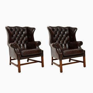 Vintage Leather Wing Back Armchairs, Set of 2