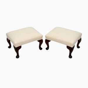 Antique Queen Anne Style Footstools, Set of 2