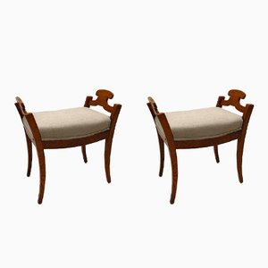 Antique Swedish Biedermeier Stools, Set of 2