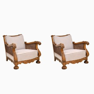 Antique Swedish Oak Bergere Armchairs, Set of 2