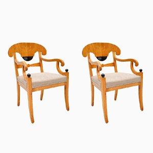 Paar antike schwedische Armlehnstühle aus Birke-Satinholz