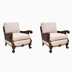 Vintage Swedish Satin Birch Bergere Armchairs, Set of 2