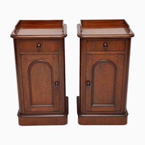 Antique Victorian Mahogany Bedside Cabinets, Set of 2