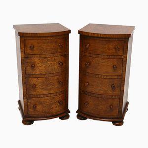 Antique Victorian Pollard Oak Bedside Chests, Set of 2