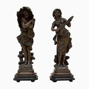 Antique Victorian Spelter Figurines, Set of 2