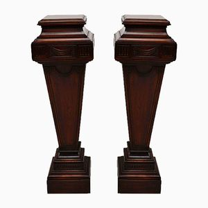 Large Vintage Mahogany Pedestals, Set of 2