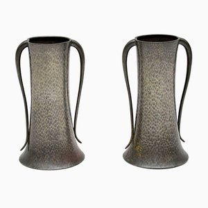 Antique Pewter Vases by Walker & Co., Set of 2