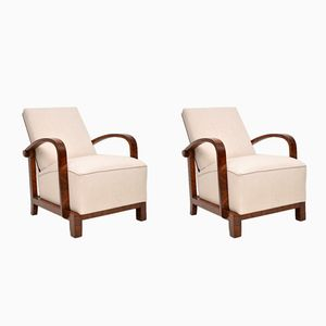 Swedish Art Deco Walnut Armchairs, Set of 2