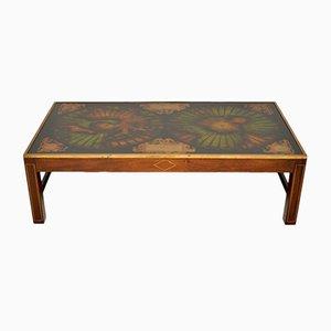Tavolino da caffè vintage in ottone e mogano