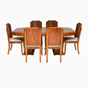 Art Deco Walnut Dining Set with Table & 6 Chairs, 1920s