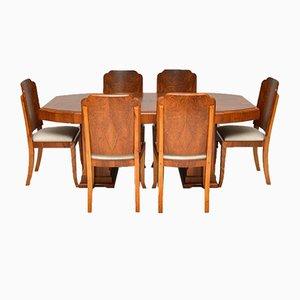 Juego de comedor Art Déco de nogal con mesa y seis sillas, años 20