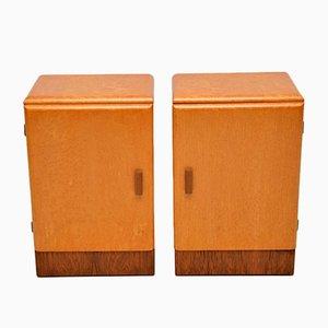Vintage Art Deco Maple & Walnut Bedside Cabinets, Set of 2
