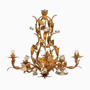 Lámpara de araña italiana de metal dorado, años 50