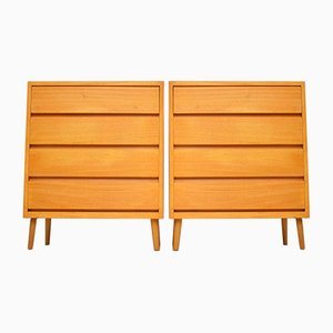 Vintage Satin Wood Chests of Drawers, 1950s, Set of 2