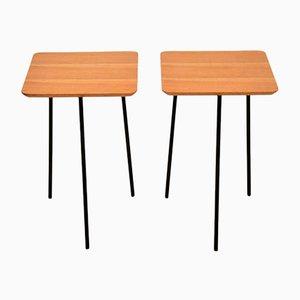Walnut & Steel Tripod Side Tables, 1950s, Set of 2