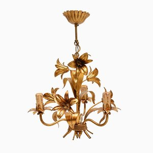 Vintage Italian Gilt Metal Chandeliers, 1950s, Set of 6