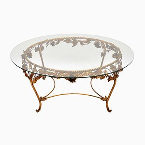 Vintage French Gilt Metal Coffee Table, 1950s