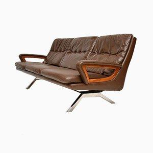Danish Vintage Leather Teak & Chrome Sofa, 1960s